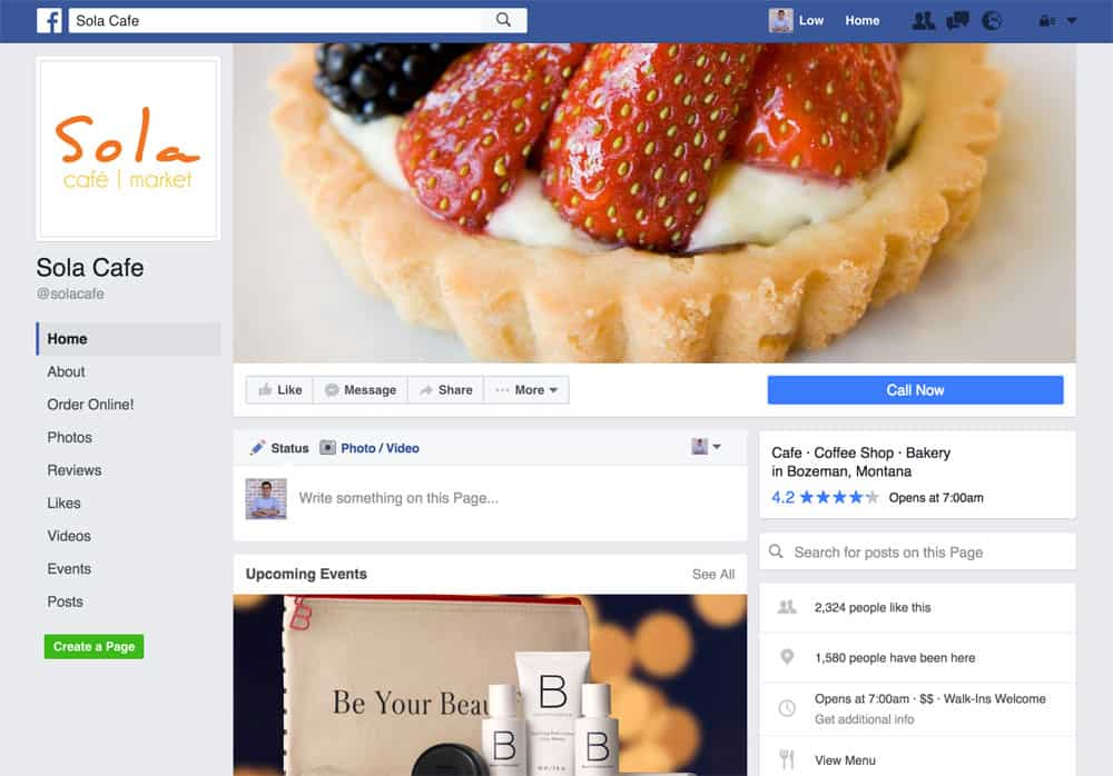 Sola Cafe Facebook Page