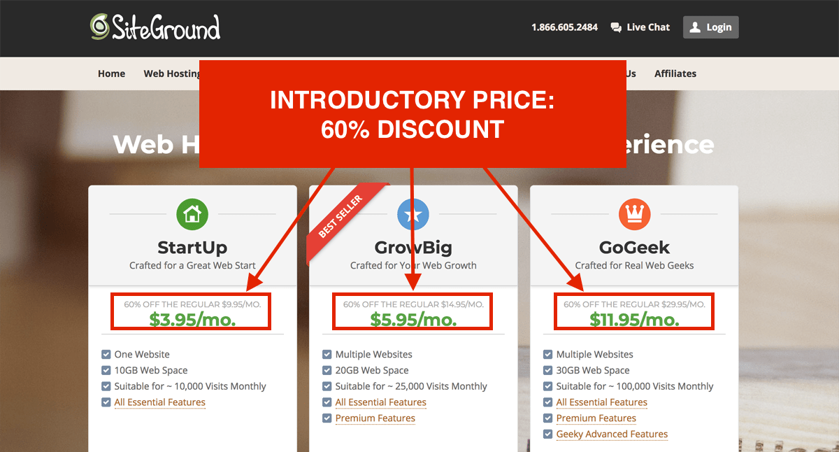 SiteGround Introductory Price: 60% Discount