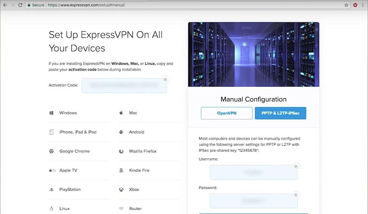 expressvpn configuration page