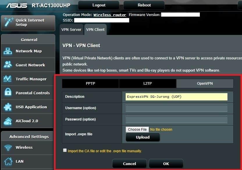 Uploading VPN File